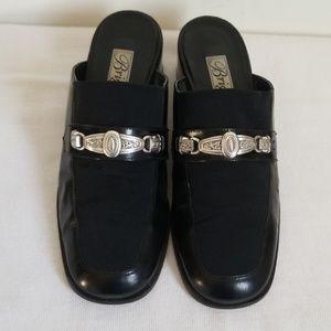 Brighton Black Leather Mules Heels